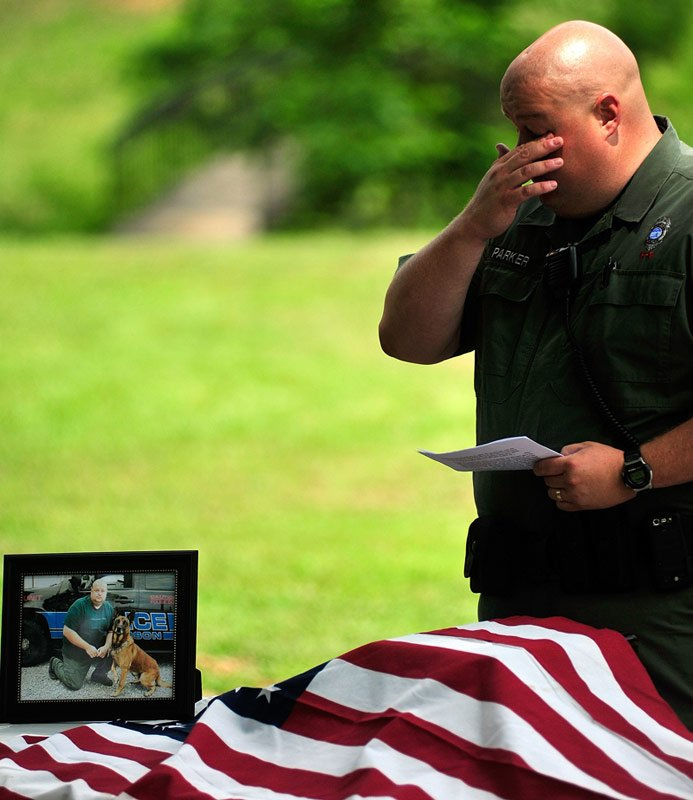 Jefferson K 9 Officer Jay Parker is overcome with emotion as he talks 693x800