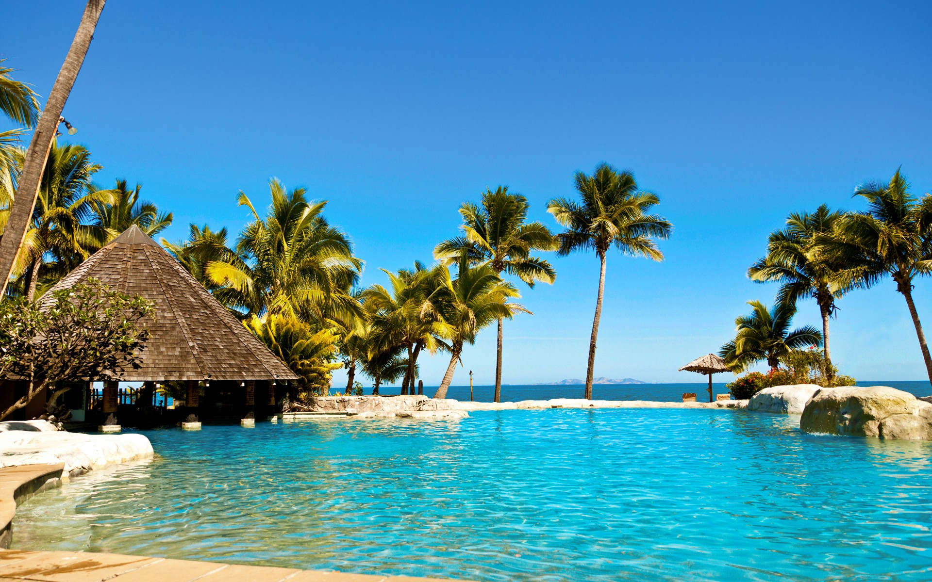 hotels Fiji islands resort relaxation sea beaches wallpaper background 1920x1200