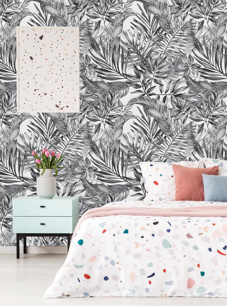 Removable Wallpaper Self Adhesive Wallpaper Gray Tropical Etsy 794x1073