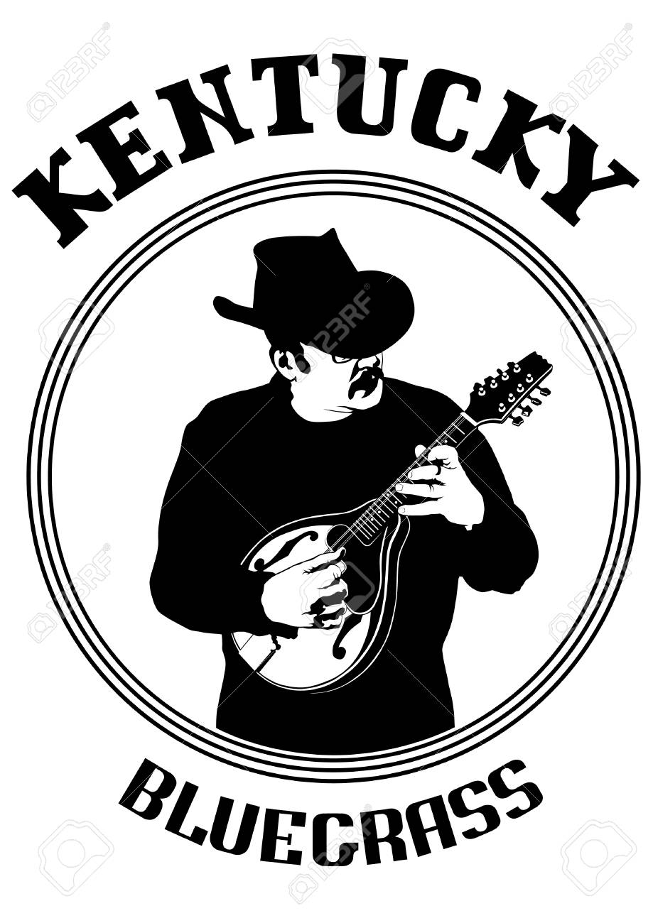 Cowboy In Hat With Mandolin On A White Background Royalty 919x1300