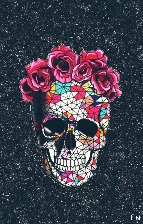 wallpaper background iphone android skull flowers floral geometric 500x784