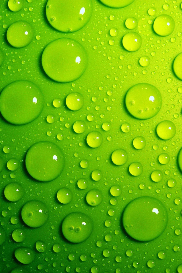 Green Water Drops Simply beautiful iPhone wallpapers 640x960