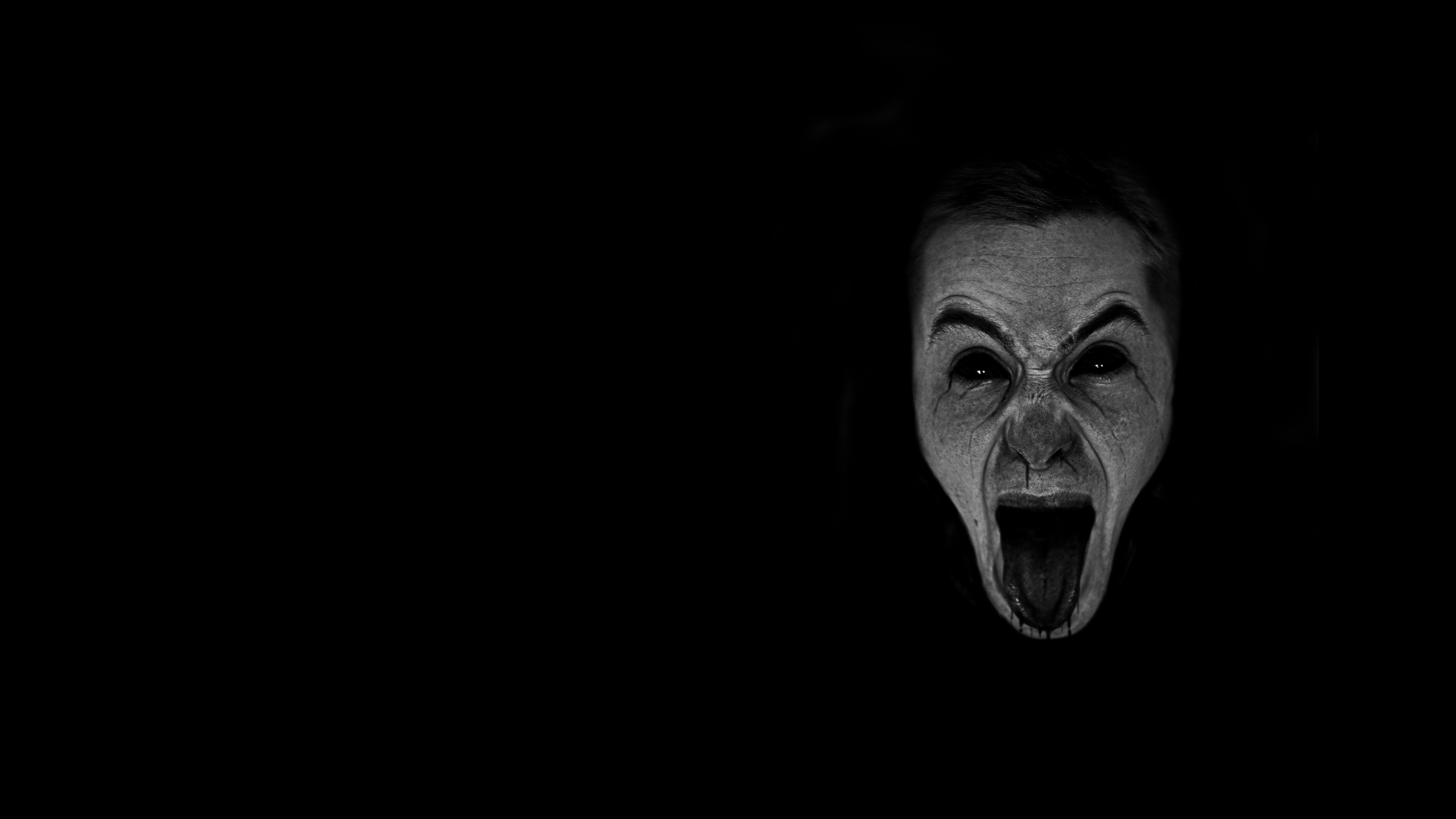 dark horror gothic mood scream expression evil face wallpaper 2560x1440