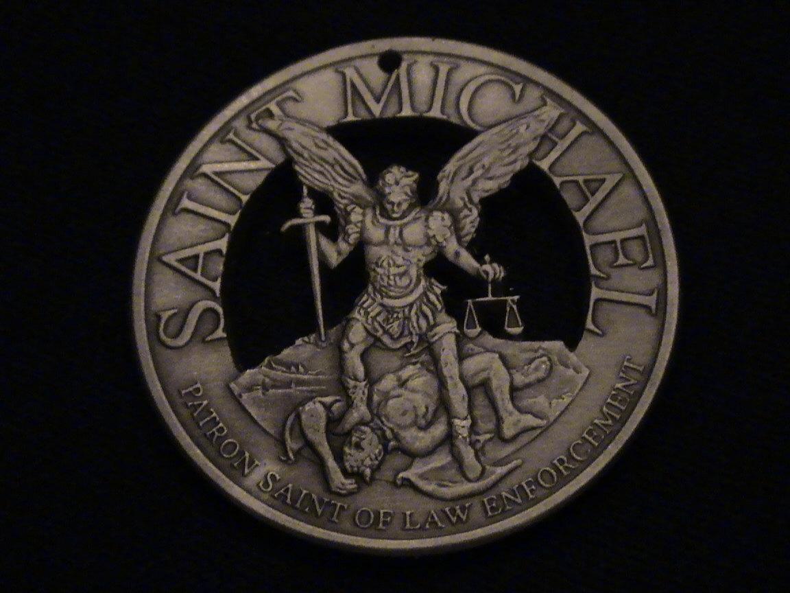 Saint michael wallpaper wallpapersafari saint michael cut bronze medallion archangel by lazycatcutcoins 1152x864 aloadofball Gallery