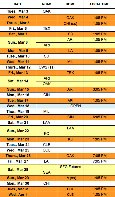 trend 3 San Francisco Giants Schedule 374x641