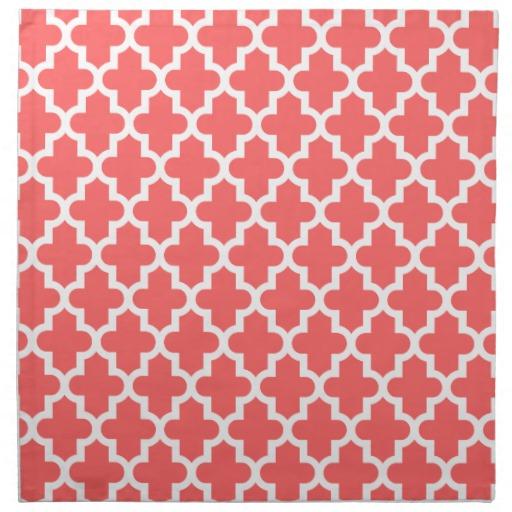 Coral Modern Moroccan Pattern Printed Napkins Zazzle 512x512