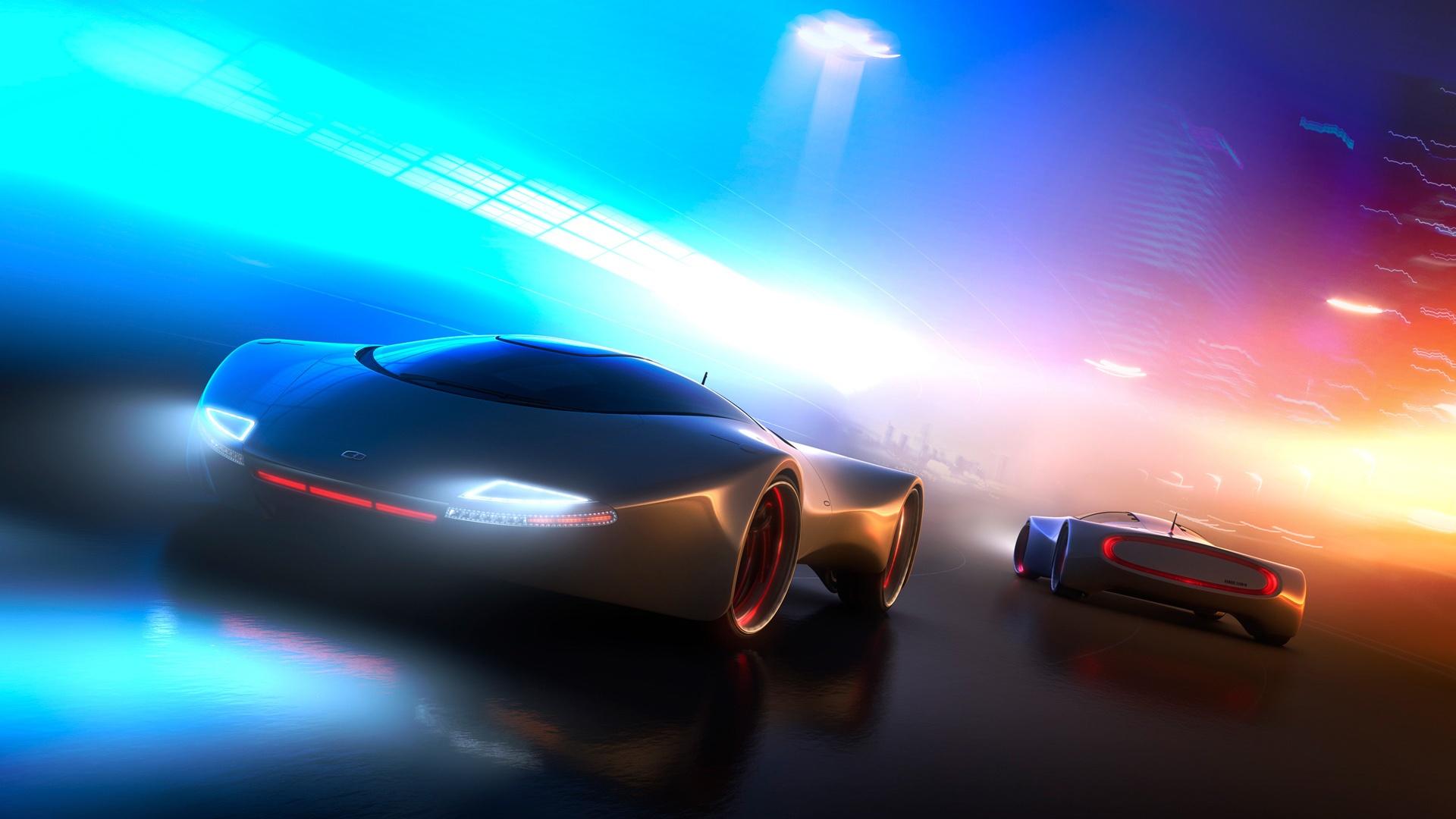 Full HD Wallpaper electric car futuristic blurry speed light 1920x1080