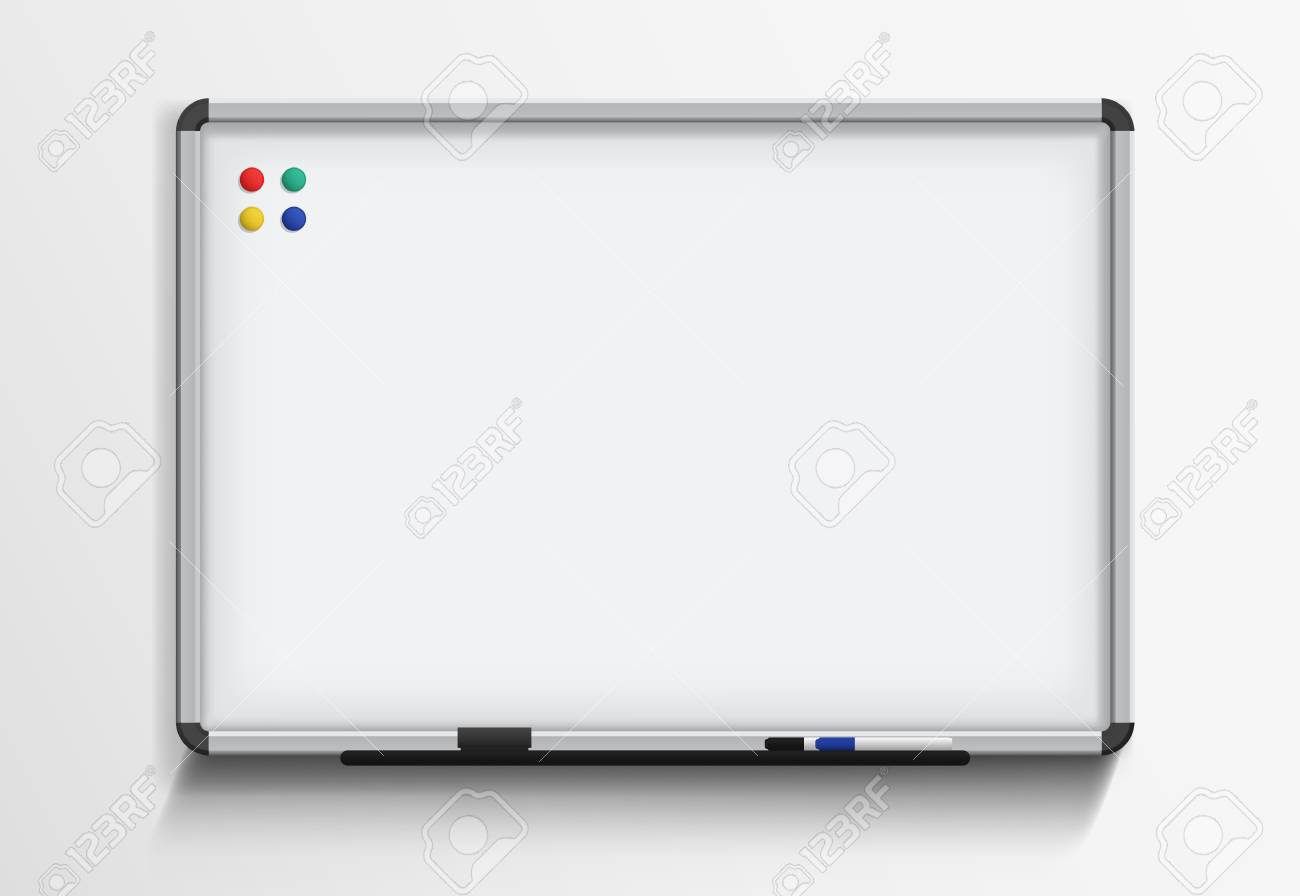 Whiteboard With Marker And Magnets Vector Realistic Template 1300x896