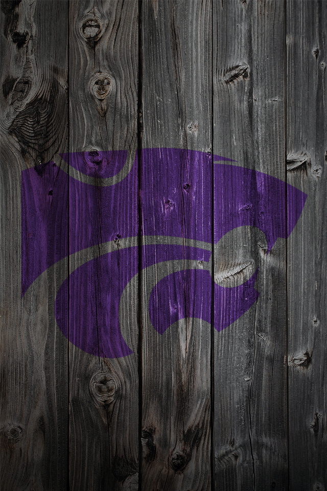 Kansas State Wildcats Logo on Wood Background   iPhone 4 wallpaper 640x960