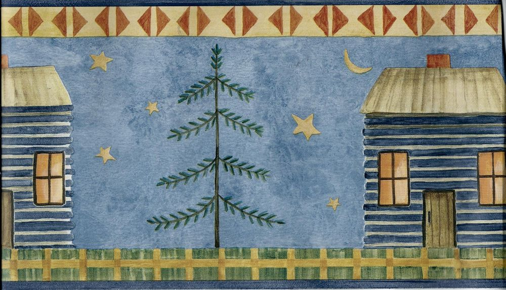 Primitive Look Cabin Tree Stars and Moon Blue Wallpaper Border eBay 1000x574