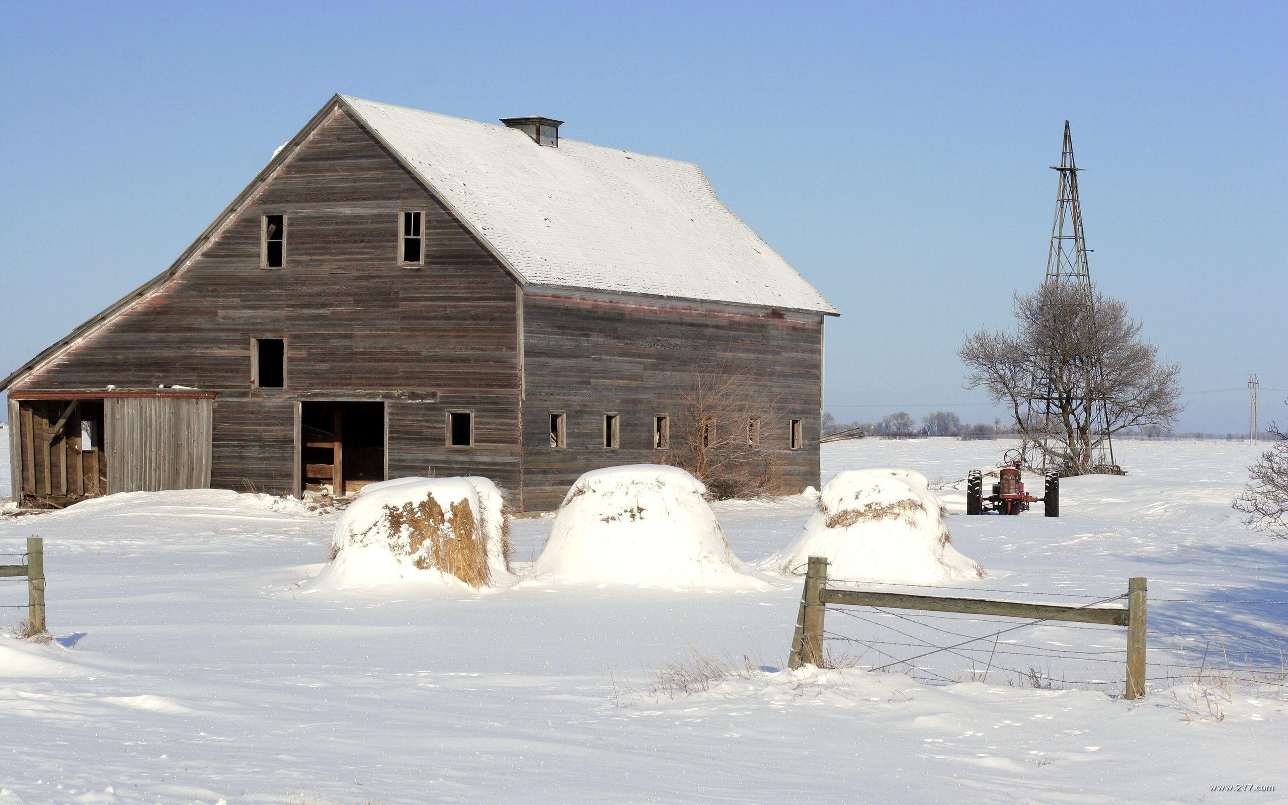 Snow Covered Barn Landscape Wallpaper 2560x1600 Wallpoper 152020 2560x1600