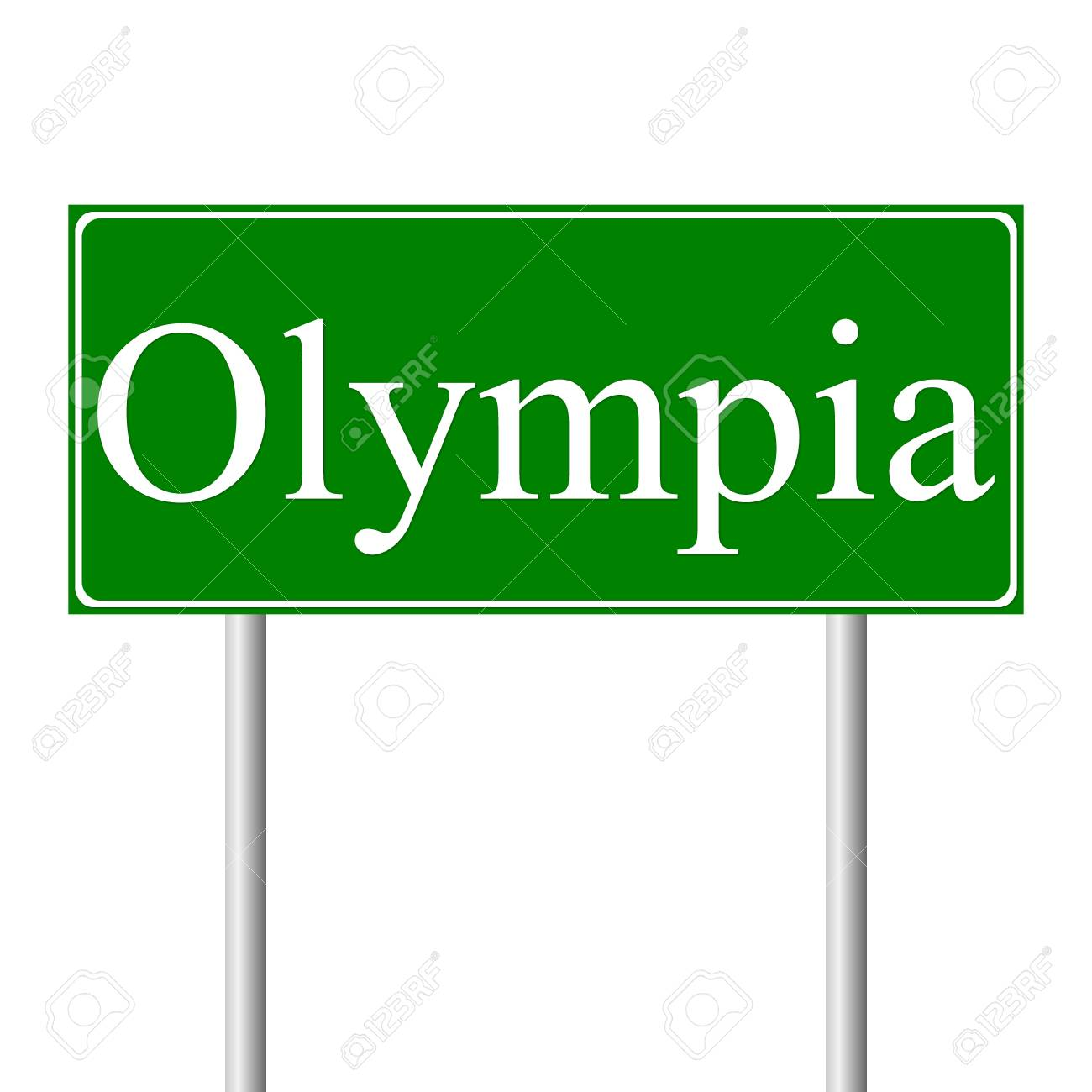 Olympia Green Road Sign Isolated On White Background Royalty 1300x1300