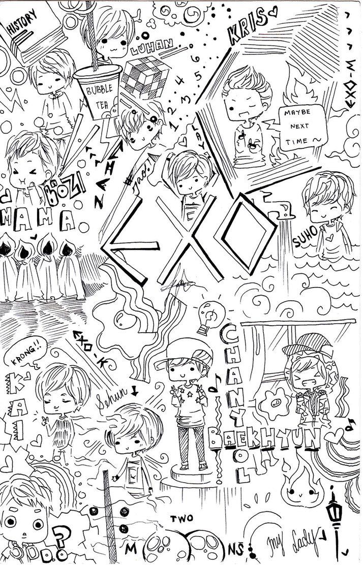 Exo iphone wallpaper tumblr - Exo Doodle By Misunderstoodpotato On Deviantart