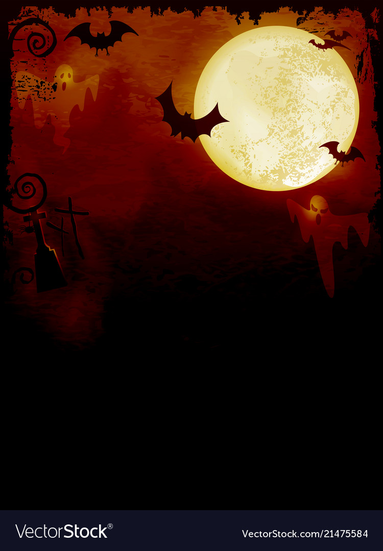 Spooky dark orange halloween background Royalty Vector 750x1080