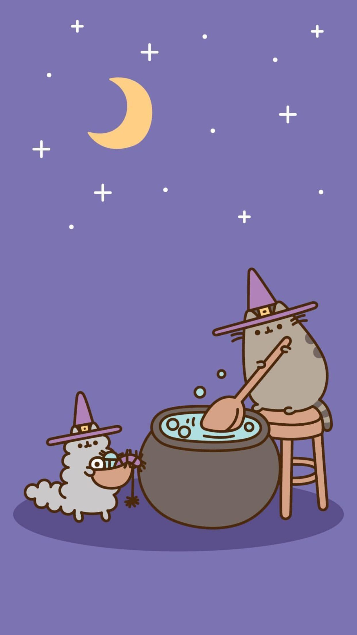 30 Halloween Witch Wallpaper Pusheen cute Witch wallpaper 1242x2208