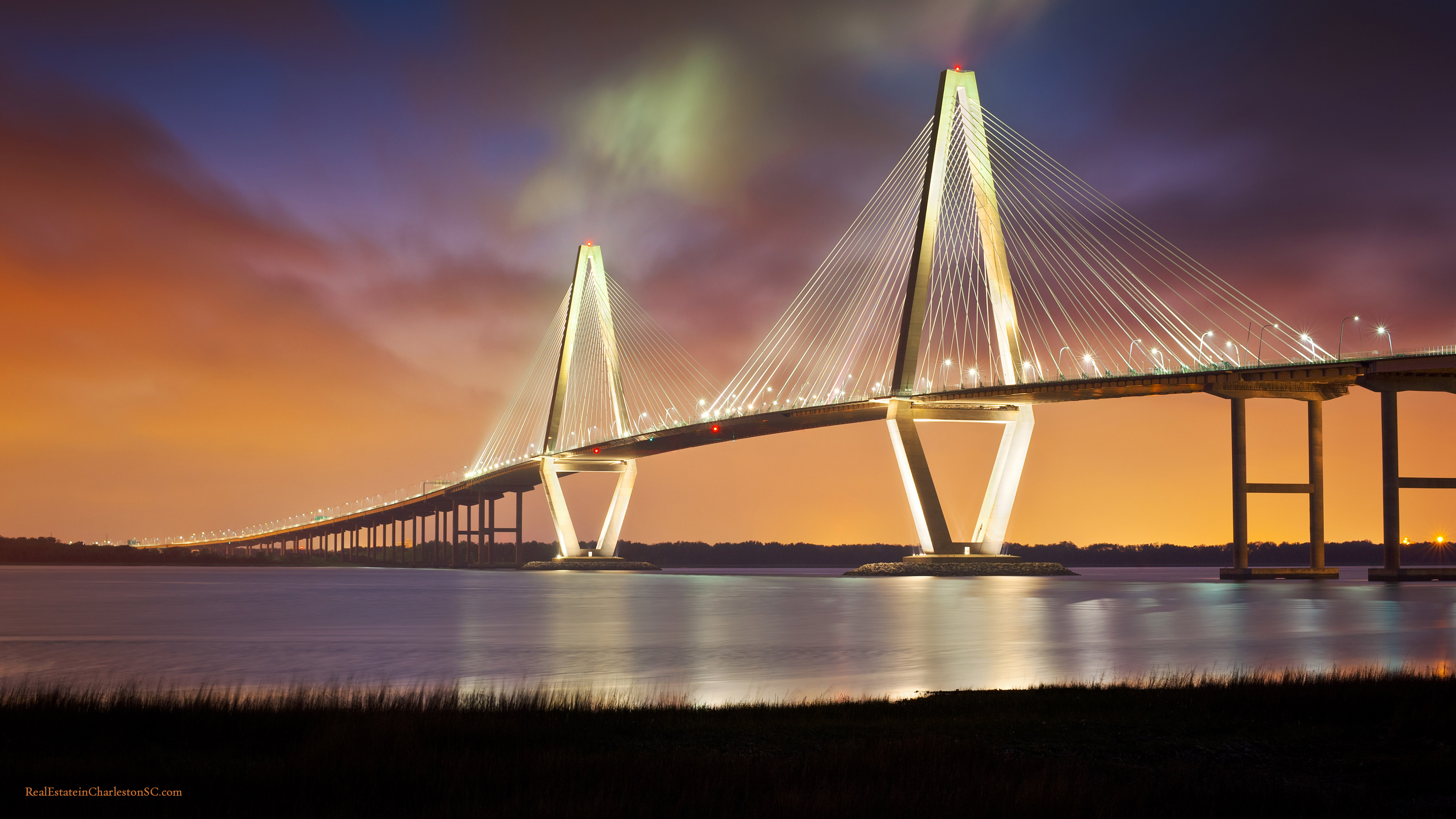 Arthur Ravenel Jr Bridge Night 3840x2160
