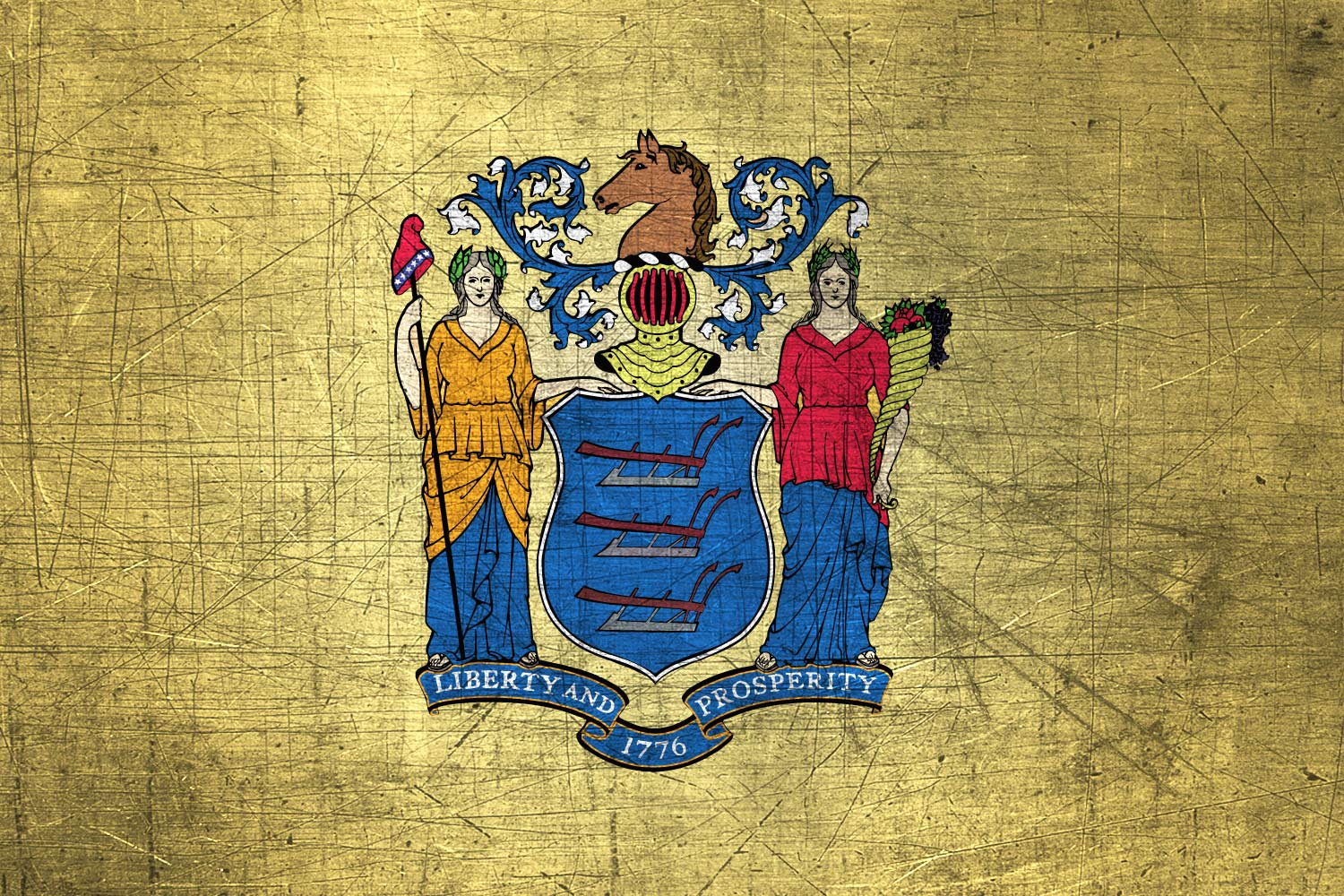 New Jerseyan Flag Metal Flag of New Jersey   Download it for 1500x1000