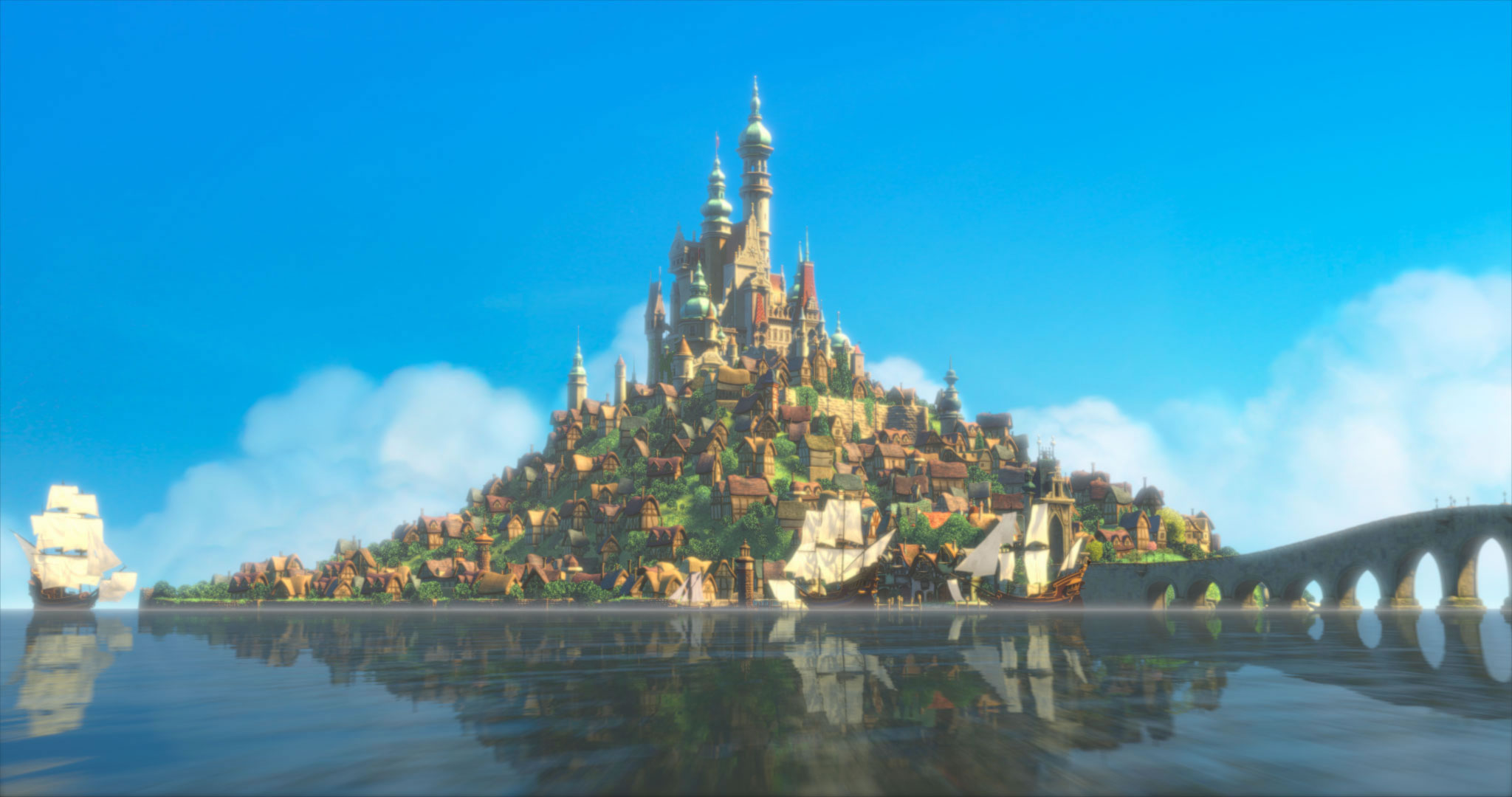 Rapunzels Castle from Disneys Tangled Desktop Wallpaper 2048x1080