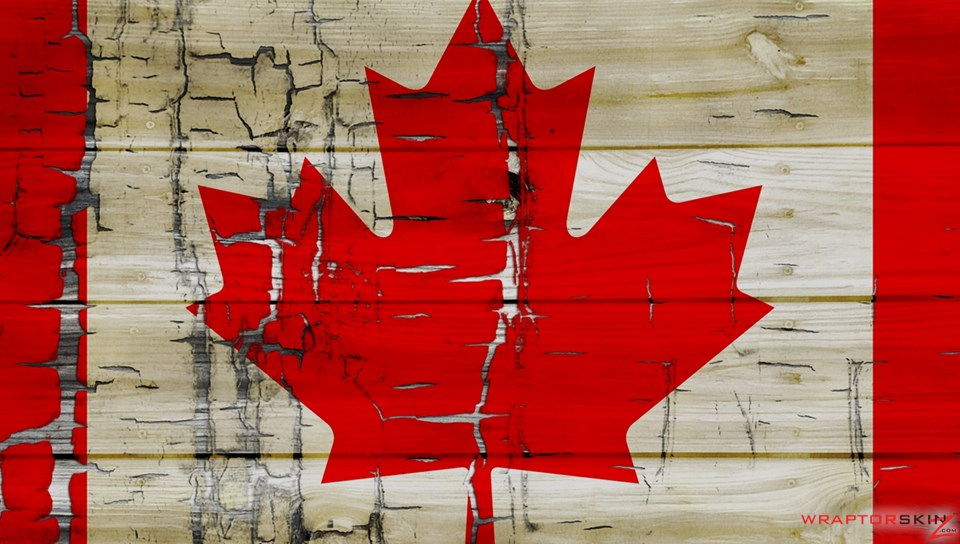 Painted Faded and Cracked Canadian Canada Flag   Decal Style Skin fits 960x544
