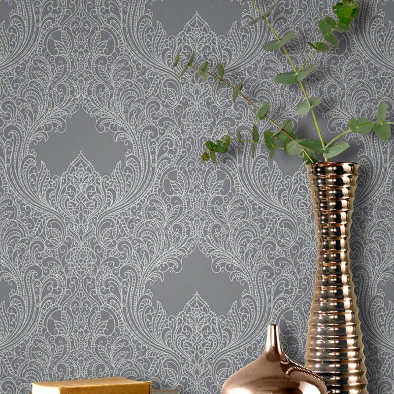 Rasch Incanto Damask Silver Grey Glitter Wallpaper   308501 in 800x800