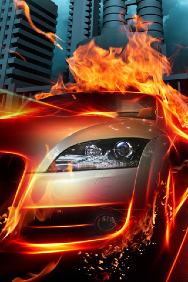 Fire Car Effect iPhone HD Wallpaper iPhone HD Wallpaper download 640x960