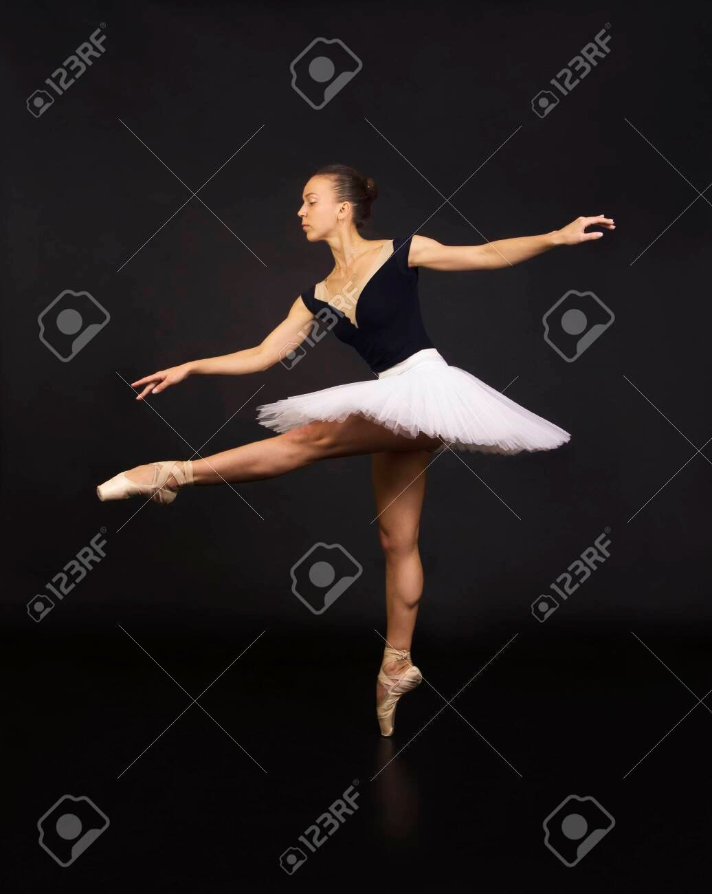 Gorgeous Ballerina In A White Tutu Dancing Ballet Studio Shooting 1036x1300