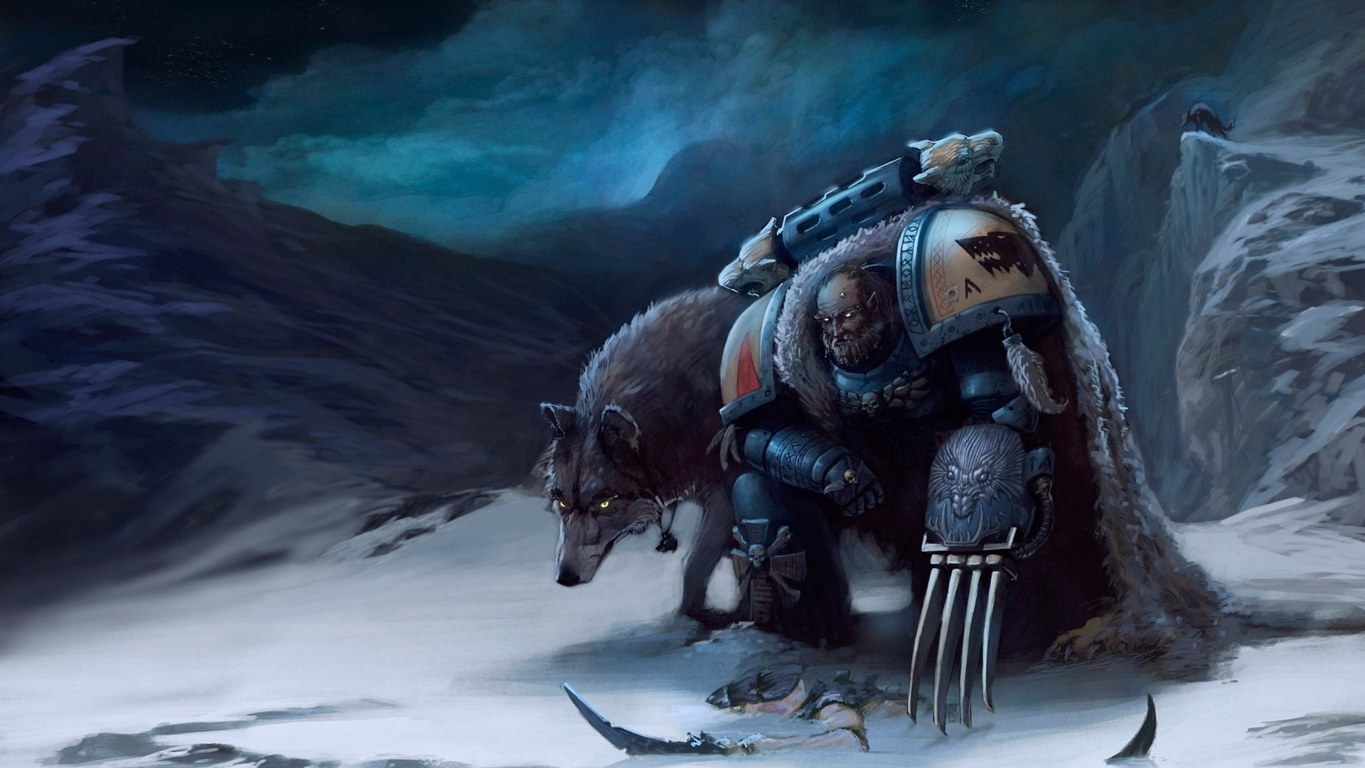 40k Space Marines Wolf Drawing sci fi art warriors weapons wallpaper 1920x1080