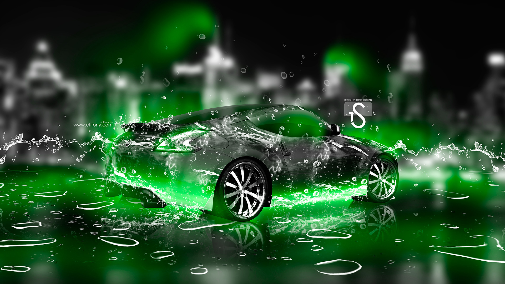 Nissan 370Z Ice Water City Car 2013 Green Neon HD Wallpapers design by 1920x1080