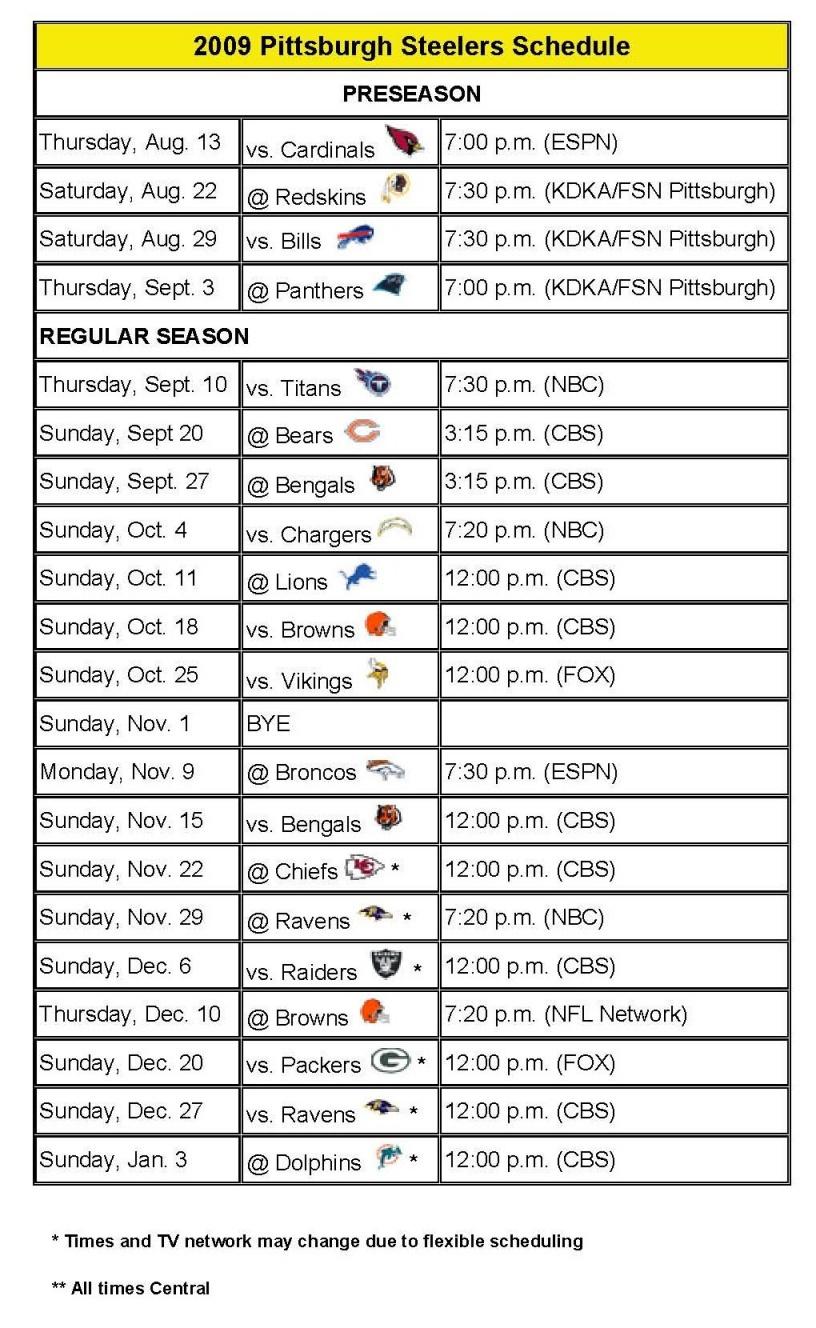 2010 Steelers Schedule 2010 Steelers Schedule Opponents 2010 Steelers 816x1328