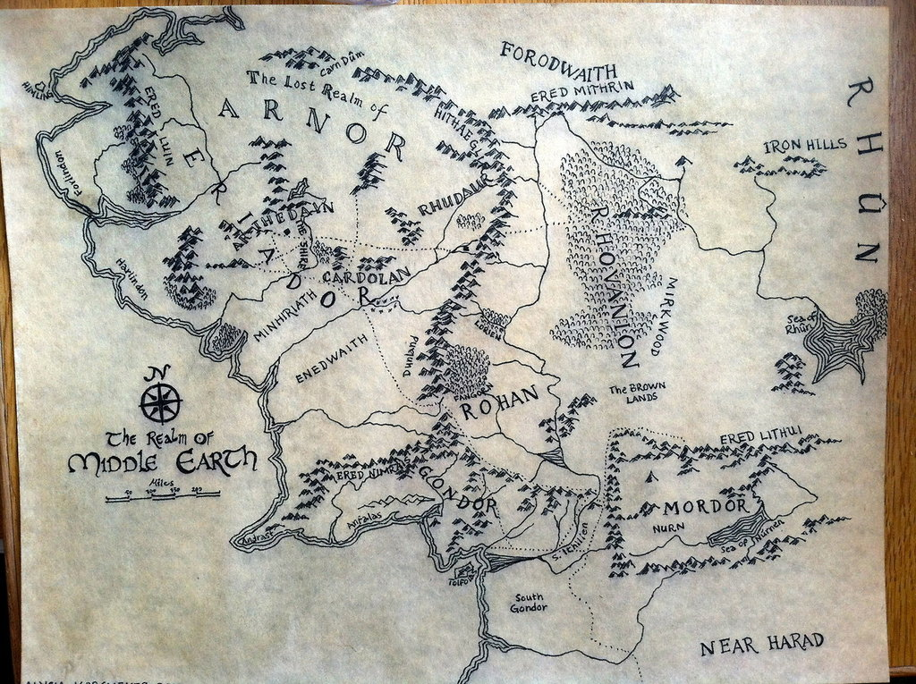 map of middle earth by alysiagail 1024x765