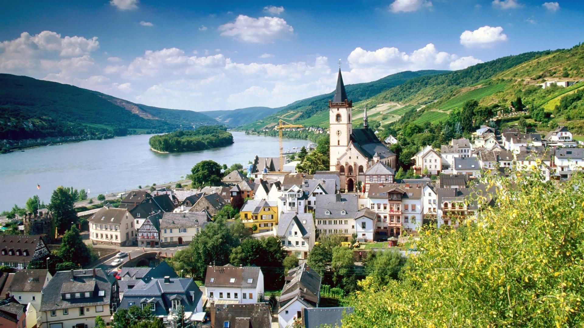 hd wallpaper lorch village on the rhine river germany Wallpapers 1920x1080