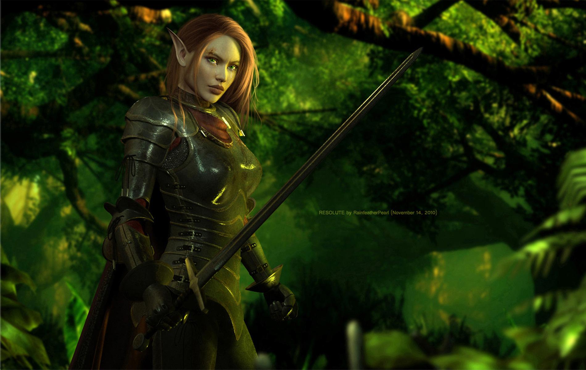Wallpaper elf warrior sword armor forest desktop 1900x1200