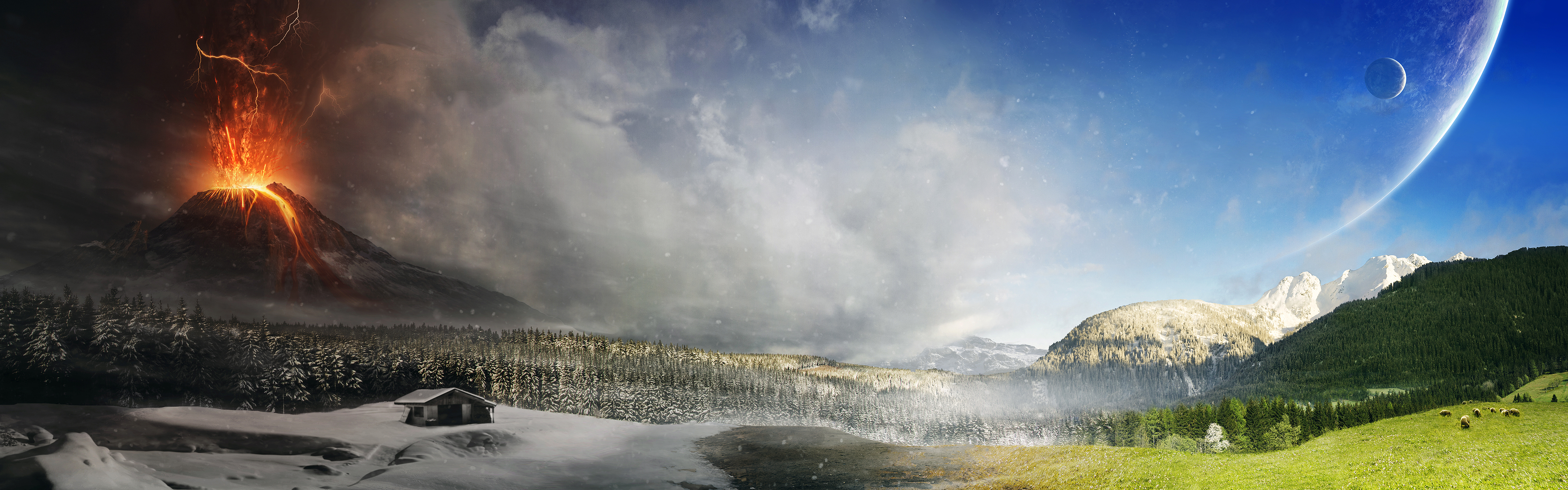 Full HD Wallpapers Dual Screen Nature by Tobias Roetsch Eruptions 3840x1200