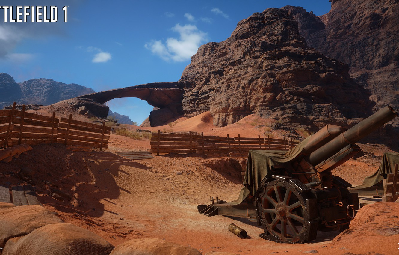 Wallpaper rocks fence gun Battlefield 1 Sinai Desert images 1332x850