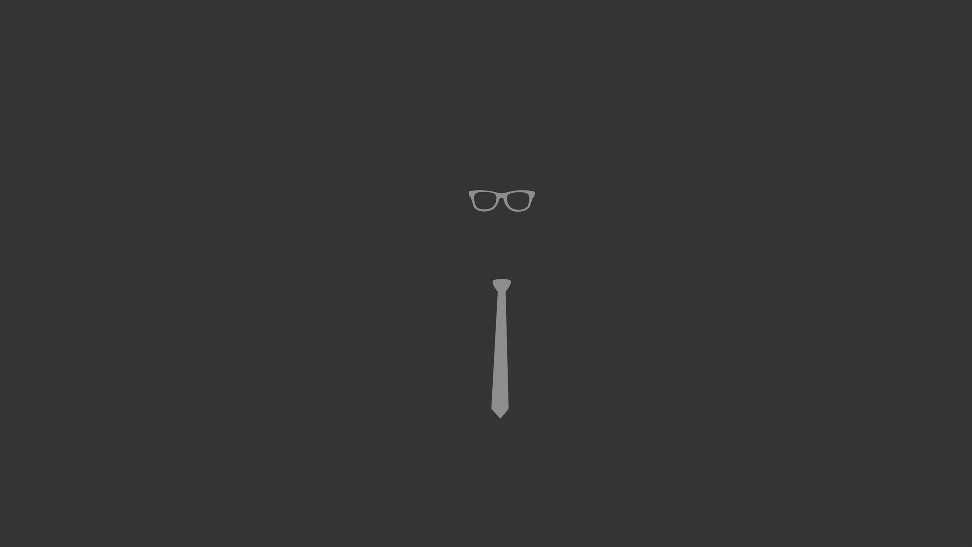 Download Wallpaper 3840x2160 tie glasses graphic minimalist 4K 3840x2160
