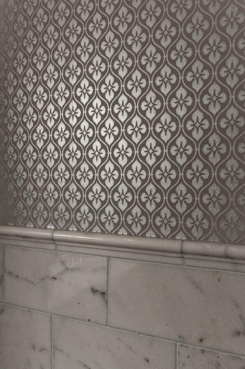 Silver Metallic Wallpaper   Contemporary   bathroom   Schroeder Carpet 492x740