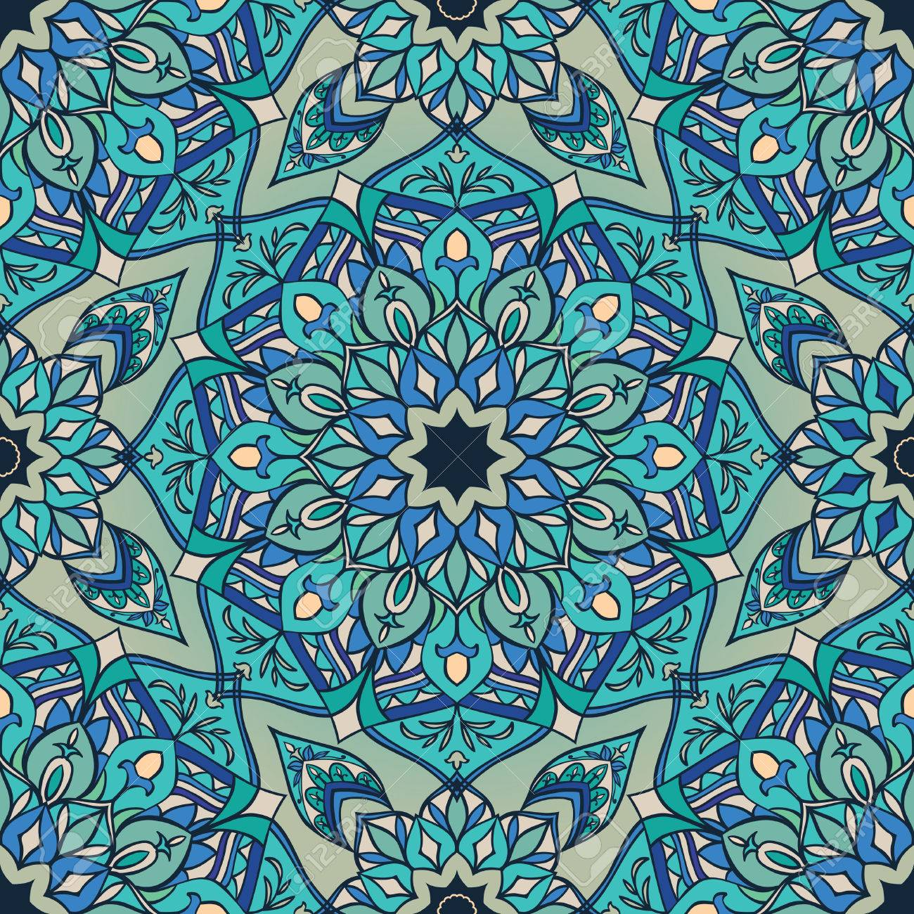 Blue Ornament Of Mandala Template For Carpets Shawls Textiles 1300x1300