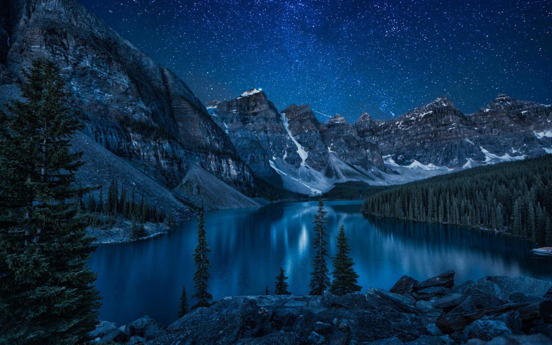 Wallpaper mountains forest lake night Banff National Park Moraine 1920x1200