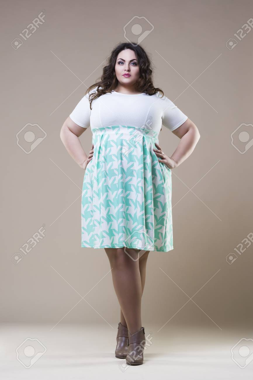 Plus Size Fashion Model In Casual Clothes Fat Woman On Beige 866x1300