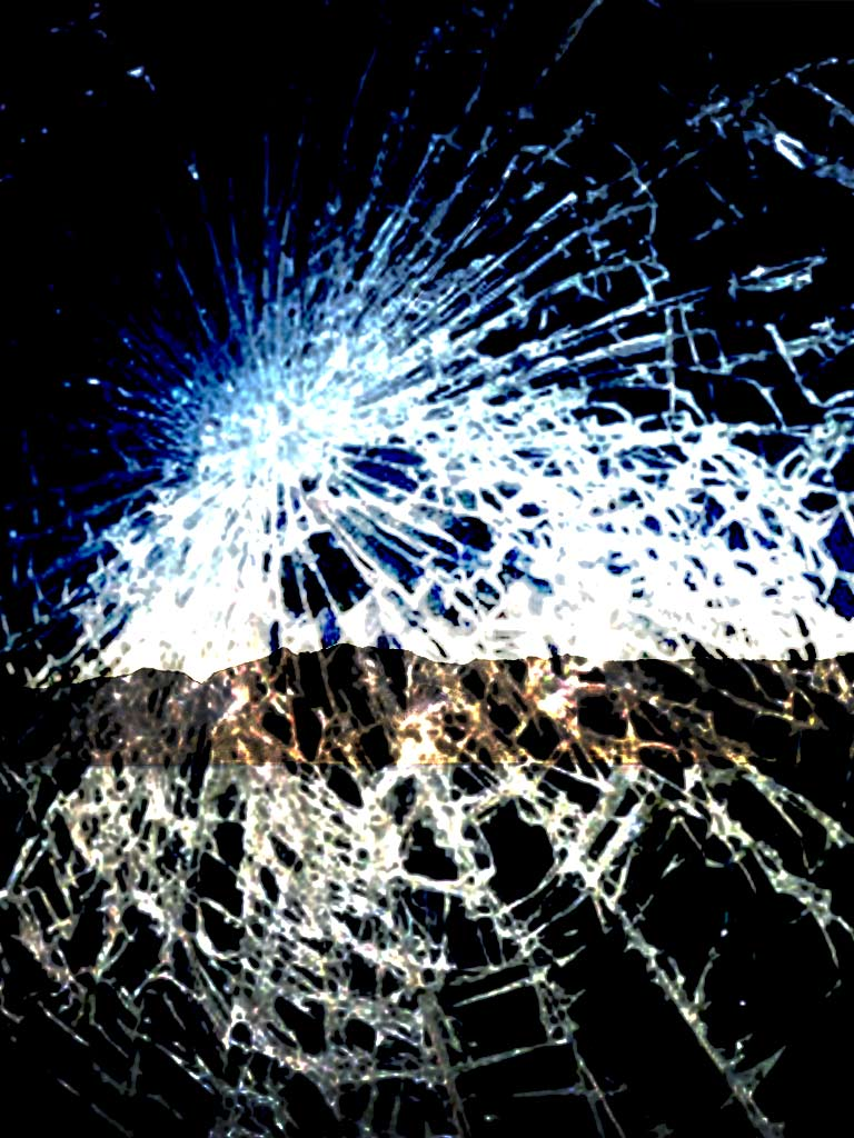 Broken and Shattered iPad and iPhone Screen Wallpaper 768x1024