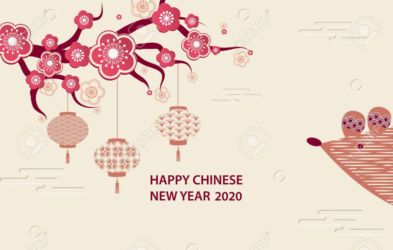 Happy New Year 2020 A Horizontal Banner With Chinese Elements 1300x827