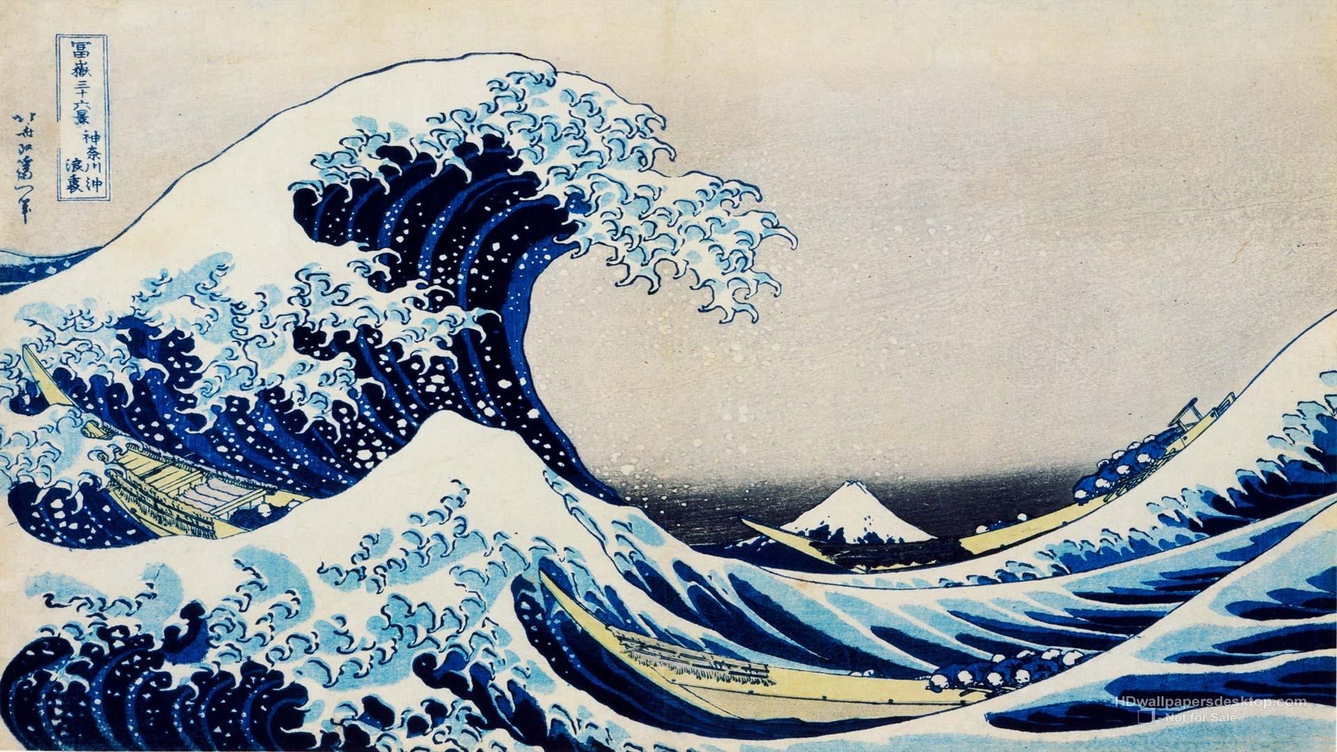 water ocean waves artwork the great wave off kanagawa katsushika 1920x1080