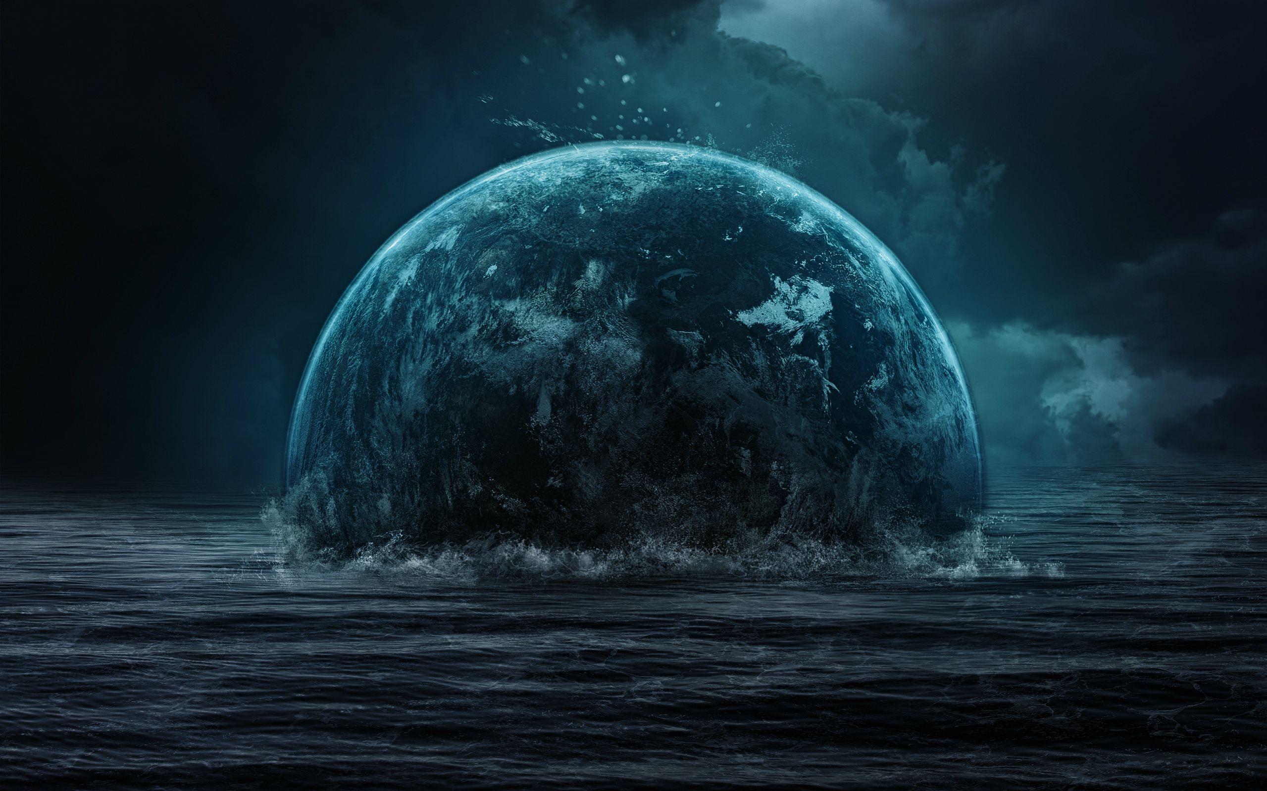 Fantasy Planet Rise Sea Clouds Sky wallpaper Best HD 2559x1599