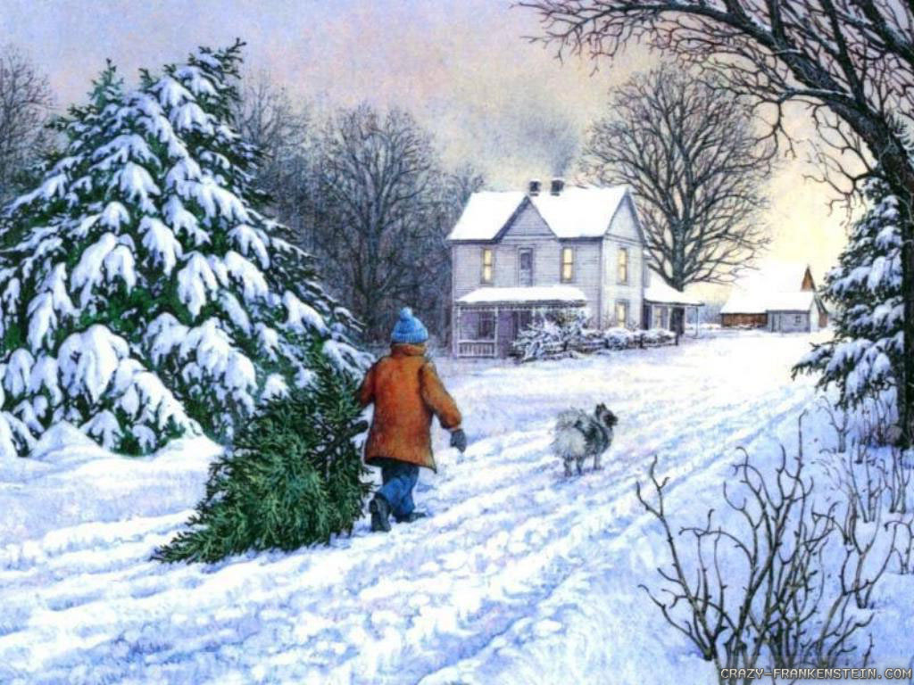 Wallpaper Kid and Tree Winter Christmas wallpapers 1024x768