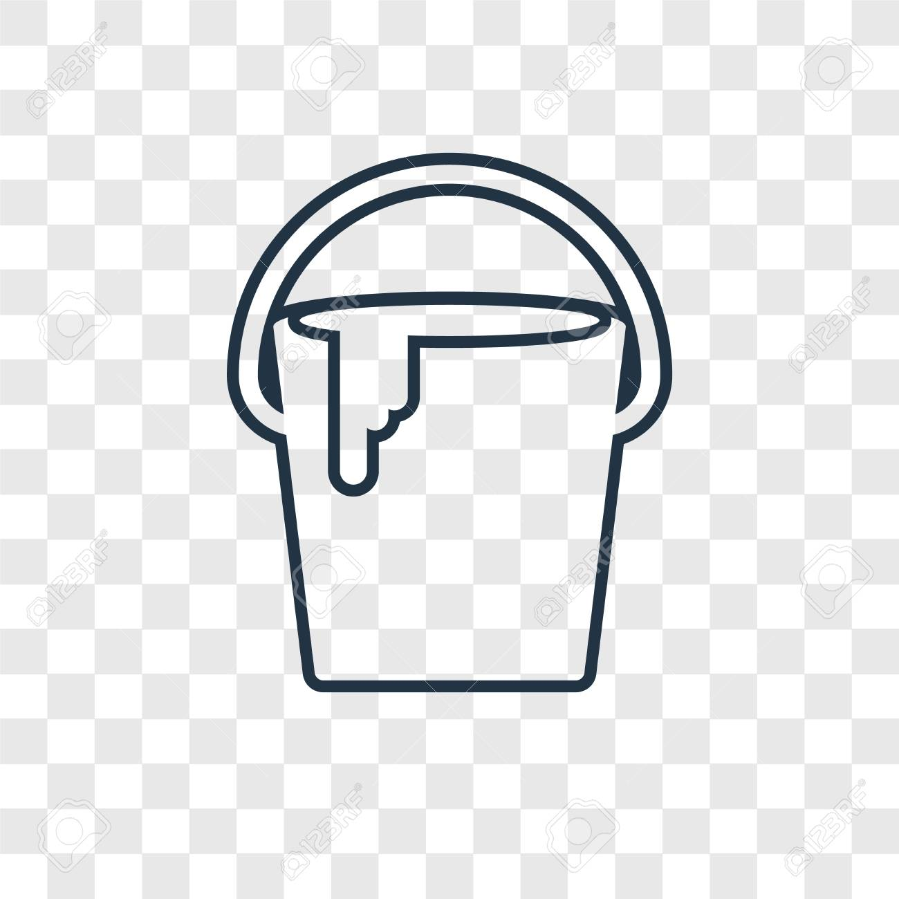 Bucket Concept Vector Linear Icon Isolated On Transparent 1300x1300