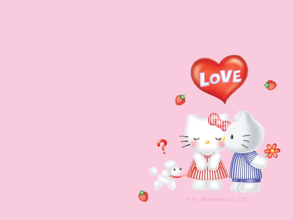 Pics Photos   Winter Romantic Wallpaper With Hello Kitty 1024x768