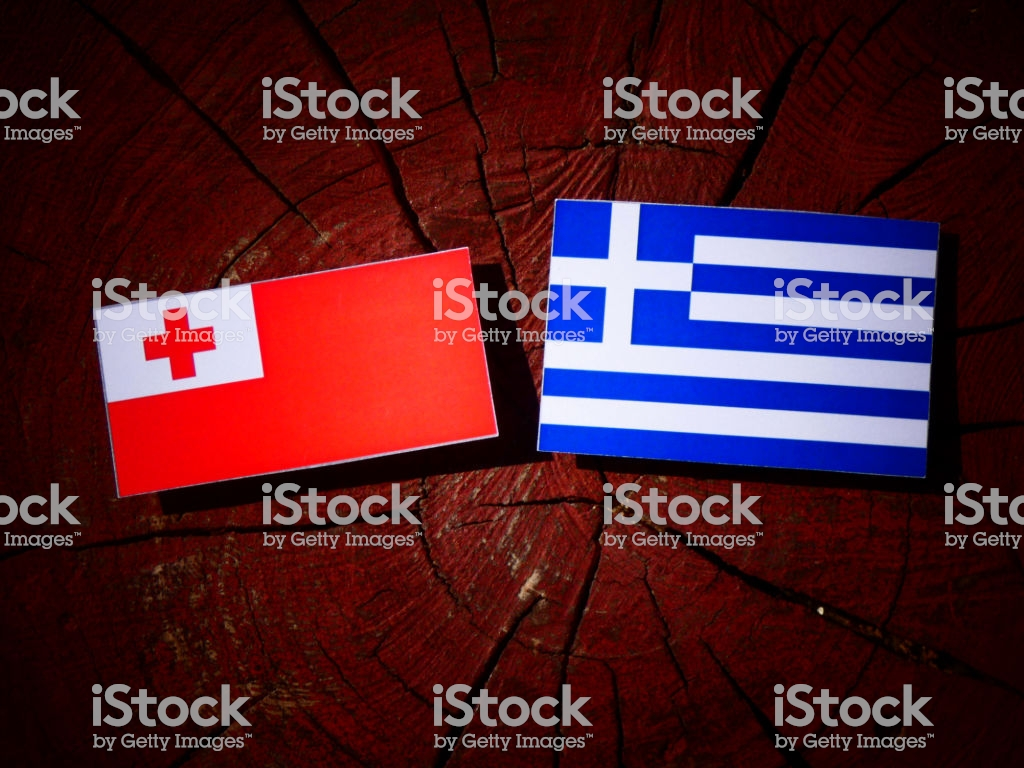 Tonga Flag With Greek Flag On A Tree Stump Isolated Stock Photo 1024x768