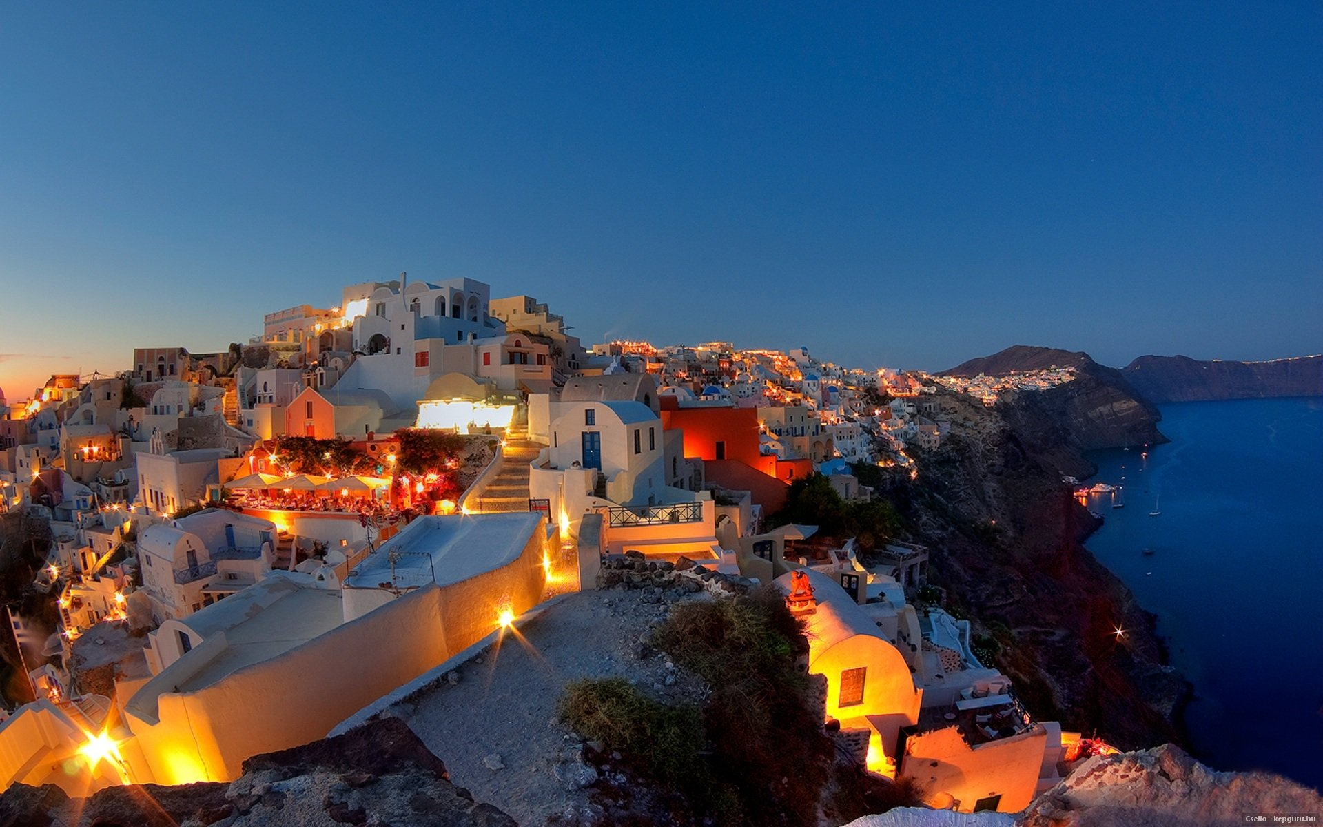 Santorini Greece At Night HD Wallpaper Background Images 1920x1200