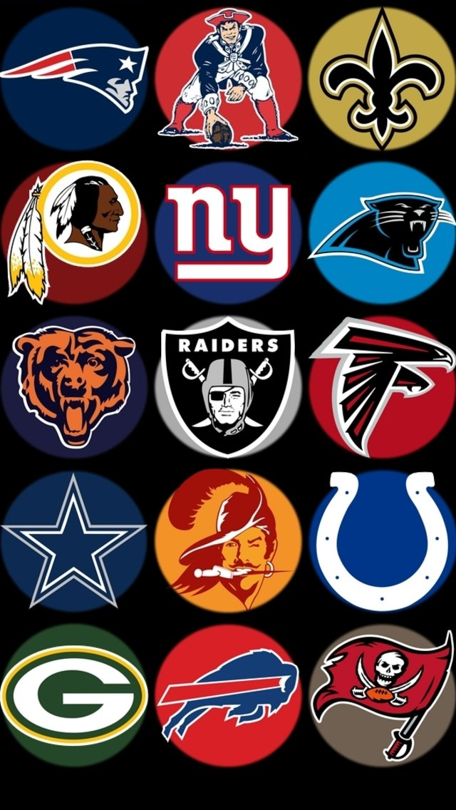 NFL Team Logos Wallpaper for iPhone 5 640x1136