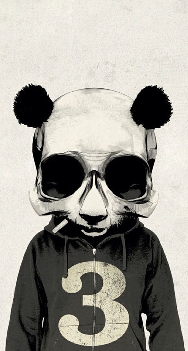 BW Panda Skull iPhone Wallpaper IPHONE WALLPAPERZ Pinterest 608x1136